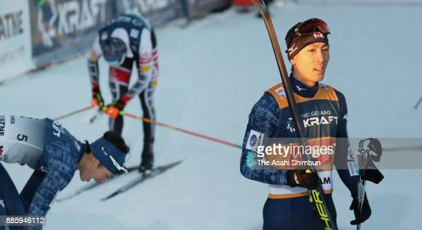 Akito Watabe of Japan reacts after competing in the Men's Gundersen LH HS140/100 K during day two of the FIS Nordic Combined World Cup on December 3...