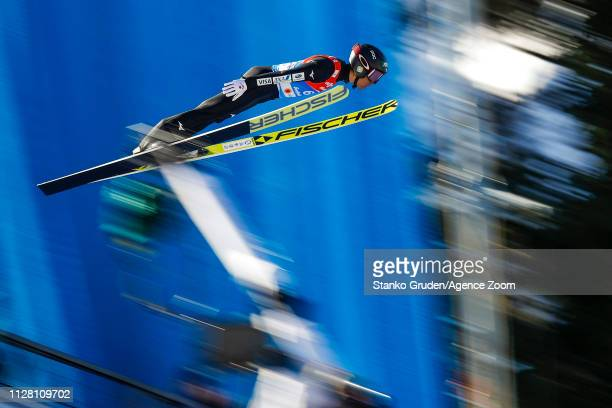 Akito Watabe of Japan takes 3rd place during the FIS Nordic World Ski Championships Men's Nordic Combined HS109/10km on February 28 2019 in Seefeld...