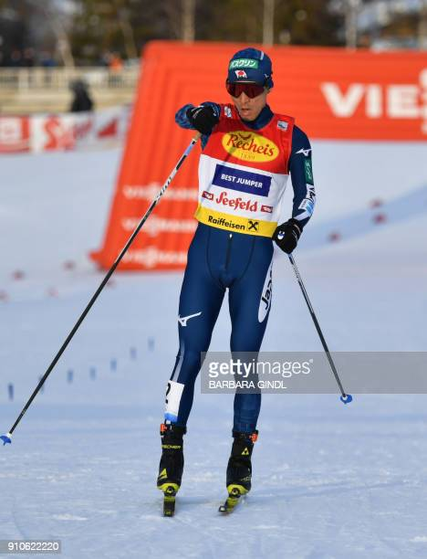 Akito Watabe of Japan wins the FIS Nordic Combined Triple world cup on January 26 2018 in Seefeld Austria / AFP PHOTO / APA / BARBARA GINDL / Austria...