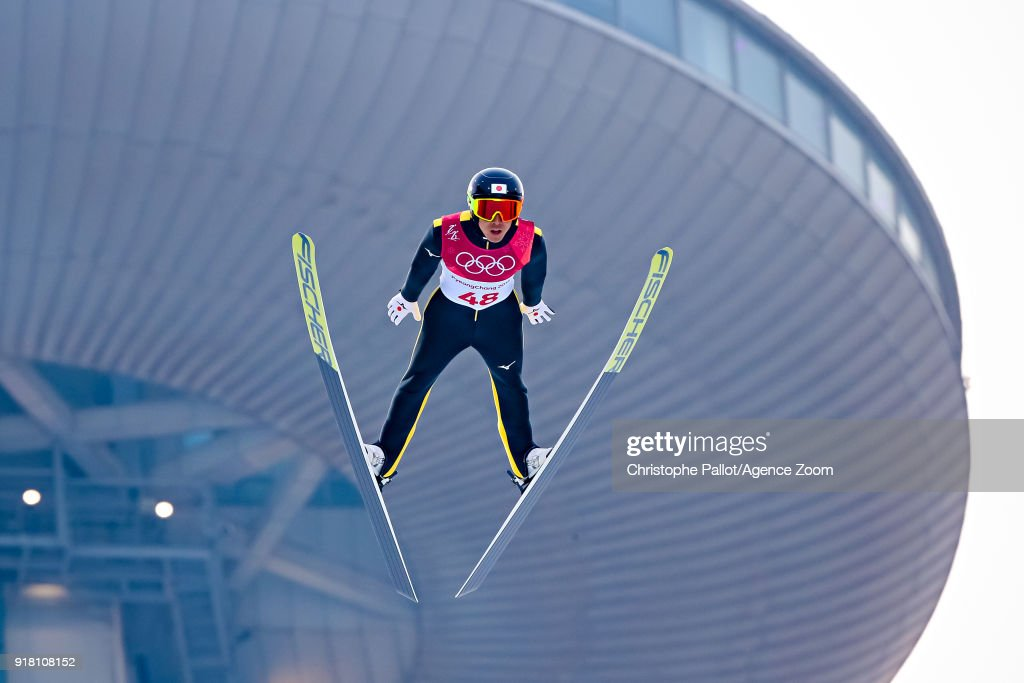 Akito Watabe of Japan wins the silver medal during the Nordic Combined Normal Hill/10km at Alpensia Cross-Country Centre on February 14, 2018 in Pyeongchang-gun, South Korea.