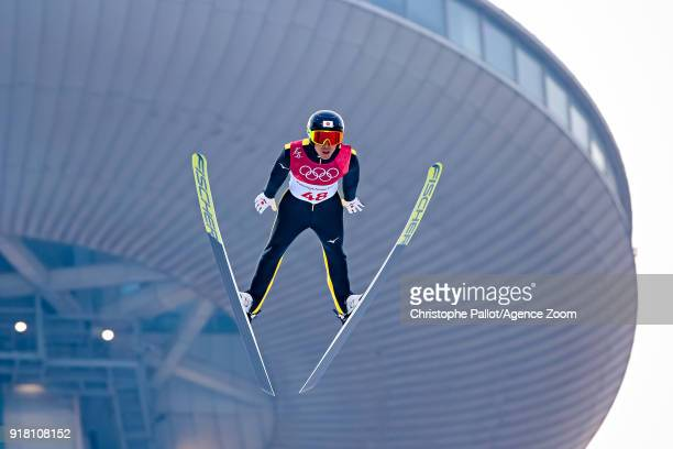 Akito Watabe of Japan wins the silver medal during the Nordic Combined Normal Hill/10km at Alpensia CrossCountry Centre on February 14 2018 in...