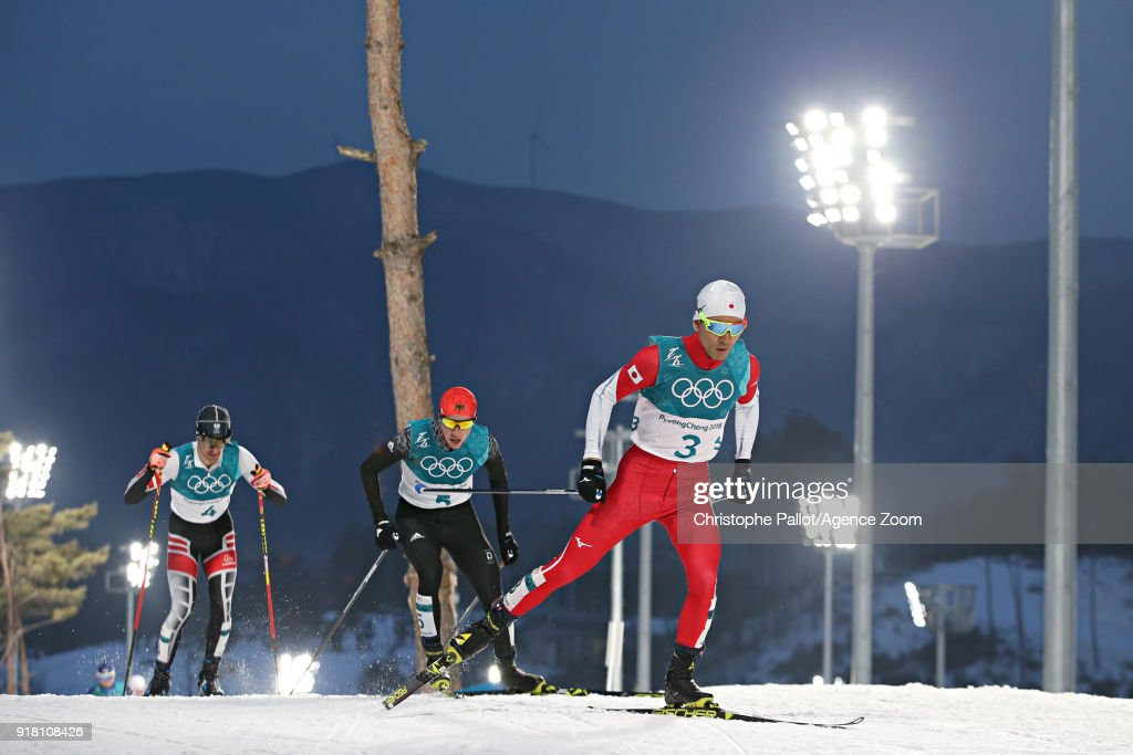 Akito Watabe of Japan wins the silver medal, Eric Frenzel of Germany wins the gold medal, Lukas Klapfer of Austria wins the bronze medal during the Nordic Combined Normal Hill/10km at Alpensia Cross-Country Centre on February 14, 2018 in Pyeongchang-gun, South Korea.