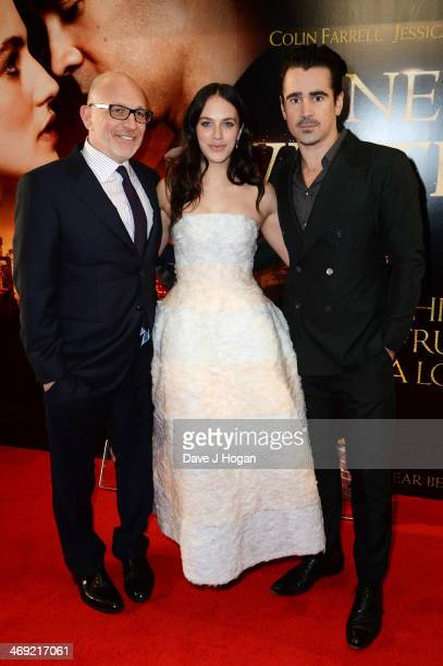 Akiva Goldsman Jessica Brown Findlay and Colin Farrell attend the UK premiere of 'A New York Winter's Tale' at The Odeon Kensington on February 13...