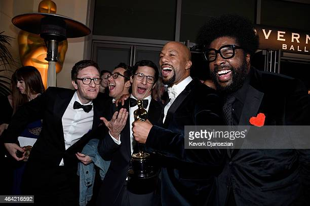 Akiva Schaffer and Andy Samberg of 'The Lonely Island' and musicians Common winner of Best Original Song for 'Glory' and Questlove attend the 87th...