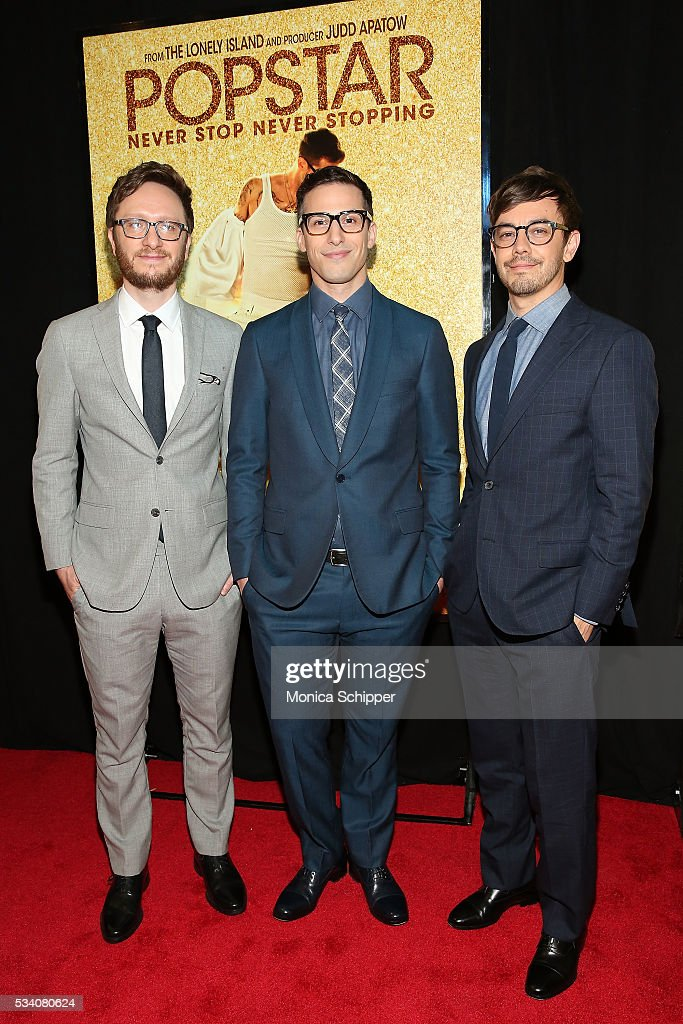 Akiva Schaffer, Andy Samberg and Jorma Taccone attend 'Popstar: Never Stop Never Stopping' New York Premiere at AMC Loews Lincoln Square 13 theater on May 24, 2016 in New York City.