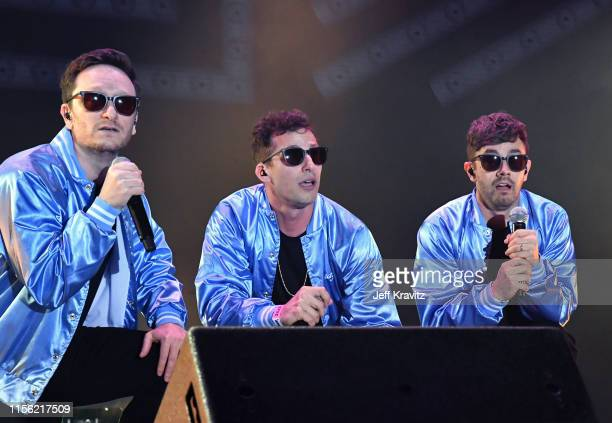 Akiva Schaffer, Andy Samberg, and Jorma Taccone of The Lonely Island performs on Which Stage during the 2019 Bonnaroo Arts And Music Festival on June...