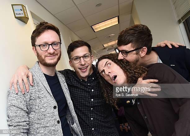 Akiva Schaffer Andy Samberg Weird Al Yankovic and Jorma Taccone pose at the SiriusXM Studio on May 18 2016 in New York City