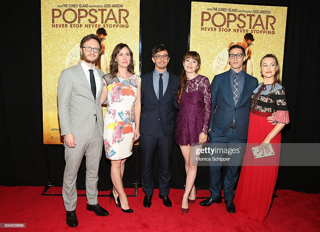 Akiva Schaffer, Liz Cackowski, Jorma Taccone, Marielle Heller, Andy Samberg and Joanna Newsom attend 'Popstar: Never Stop Never Stopping' New York Premiere at AMC Loews Lincoln Square 13 theater on May 24, 2016 in New York City.
