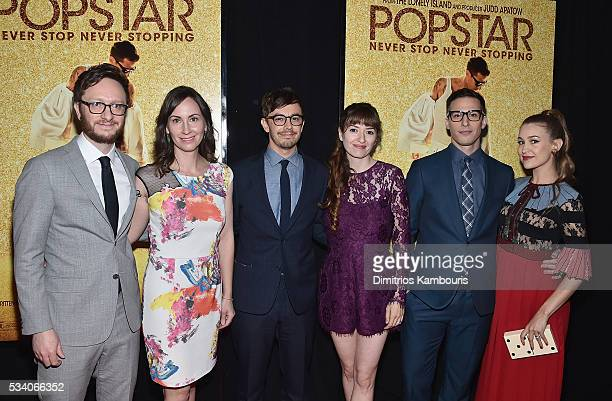 Akiva Schaffer Liz Cackowski Jorma Taccone Marielle Heller Andy Samberg and Joanna Newsom attend the 'Popstar Never Stop Never Stopping' New York...