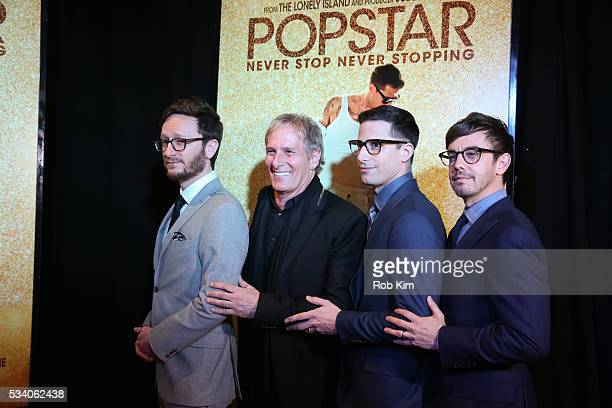 Akiva Schaffer Michael Bolton Andy Samberg and Jorma Taccone attend the New York Premiere of 'Popstar Never Stop Never Stopping' at AMC Loews Lincoln...