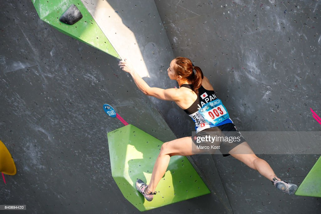Akiyo Noguchi of Japan competes during the finals of the IFSC Bouldering World Cup Munich on August 19, 2017 in Munich, Germany.