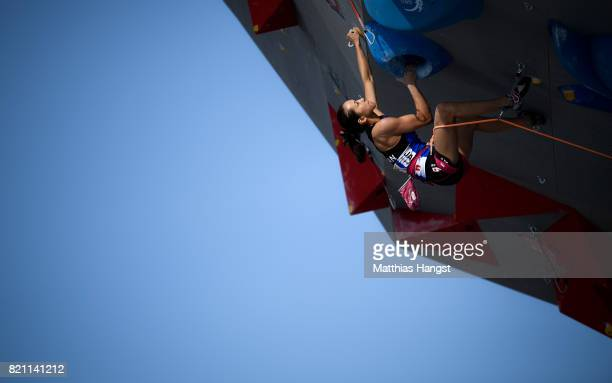 Akiyo Noguchi of Japan competes during the Sport Climbing Lead Single Women's Qualification of The World Games at the New Market Square on July 23...