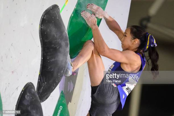 Akiyo Noguchi of Japan competes in the Bouldering during Combined Women's Qualification on day eight of the IFSC Climbing World Championships at the...