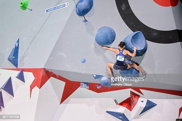 Akiyo Noguchi of Japan during the World Championship Final Climbing at AccorHotels Arena on September 18 2016 in Paris France