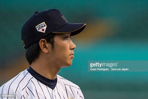 Akiyoshi Katsuno of Japan looks on during the WBSC U23 Baseball World Cup Group B game between Austria and Japan at Estadio de Beisbol Francisco I...