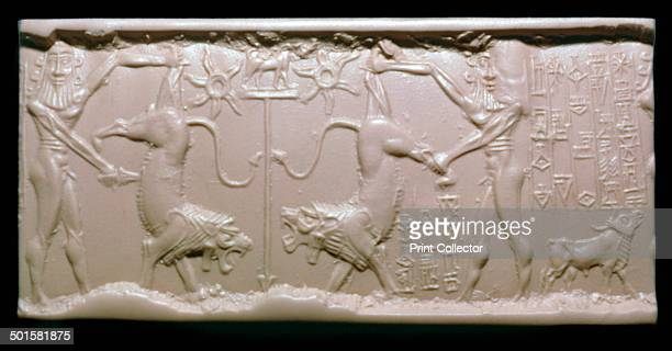 Akkadian cylinderseal impression of a hero fighting a lion