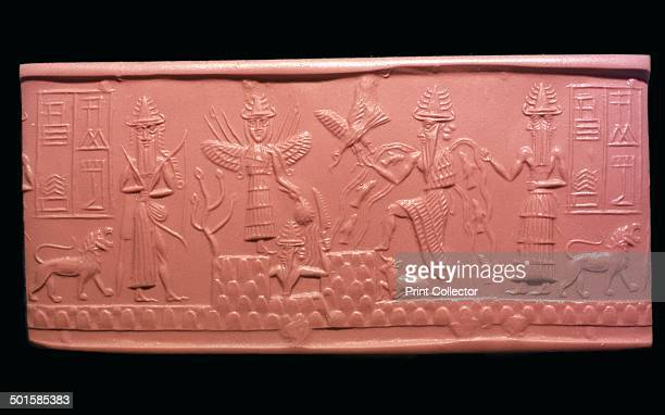 Akkadian cylinderseal impression of the scribe Adda It represents a new year ritual and from left to right are Ninurth carrying a bow Ishtar with...