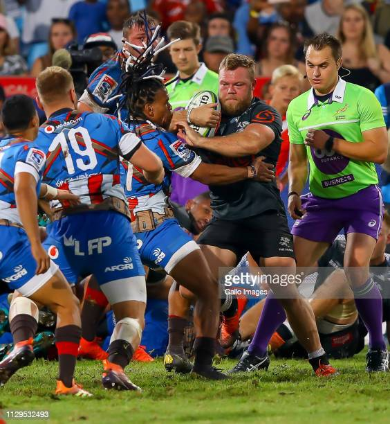 Akker van der Merwe of the Cell C Sharks drives on during the Super Rugby match between Vodacom Blue Bulls and Cell C Sharks at Loftus Versfeld on...
