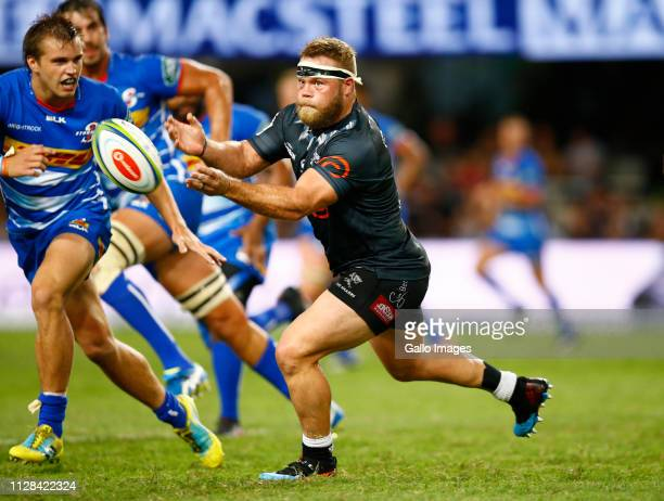 Akker van der Merwe of the Cell C Sharks during the Super Rugby match between Cell C Sharks and DHL Stormers at Jonsson Kings Park on March 02 2019...