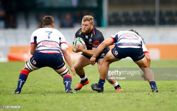 Akker van der Merwe of the Cell C Sharks during the Super Rugby match between Cell C Sharks and Rebels at Jonsson Kings Park on March 23 2019 in...