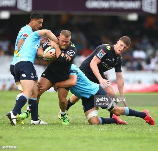 Akker van der Merwe of the Cell C Sharks during the Super Rugby match between Cell C Sharks and Waratahs at Kings Park on March 03 2018 in Durban...