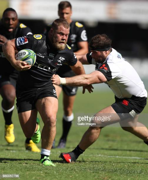 Akker van der Merwe of the Cell C Sharks during the Super Rugby match between Cell C Sharks and Sunwolves at Jonsson Kings Park Stadium on March 10...
