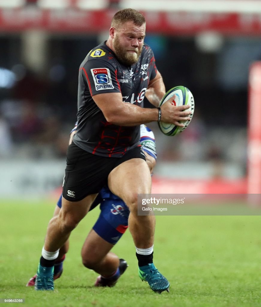 Akker van der Merwe of the Cell C Sharks during the Super Rugby match between Cell C Sharks and DHL Stormers at Jonsson Kings Park on April 21, 2018 in Durban, South Africa.
