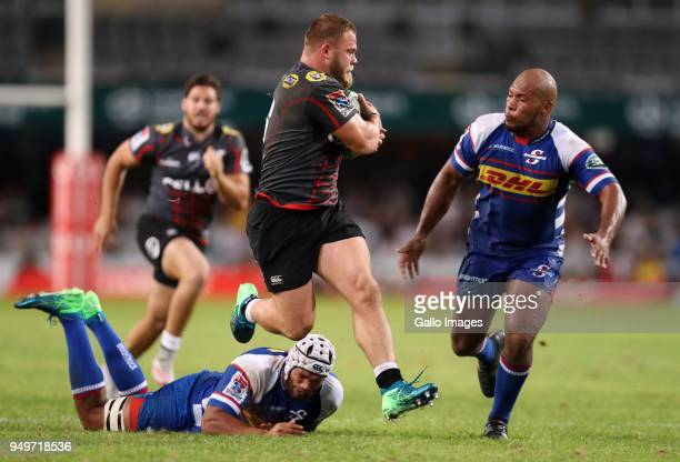 Akker van der Merwe of the Cell C Sharks during the Super Rugby match between Cell C Sharks and DHL Stormers at Jonsson Kings Park on April 21 2018...