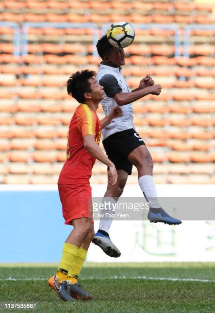 Akkhom Thoranin of Laos in action against China during the AFC U23 Championship qualifier between China and Laos at Shah Alam Stadium on March 22...