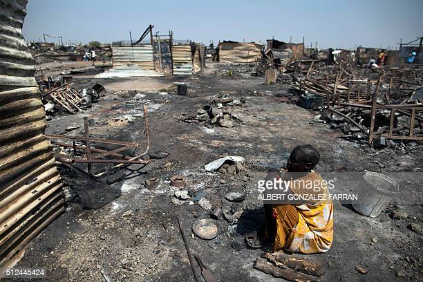 Akki Adduok a displaced woman residing in the Protection of Civilians site in Malakal South Sudan sits in the spot where her shelter used to be on...