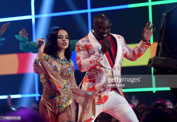 Akon and Becky G perform on stage during the MTV EMAs 2019 at FIBES Conference and Exhibition Centre on November 03 2019 in Seville Spain