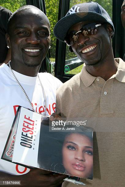 Akon and DJ Kingsley during Akon Hosts Hot 937FM's Annual Summer Cookout May 22 2007 in Farmington Connecticut United States
