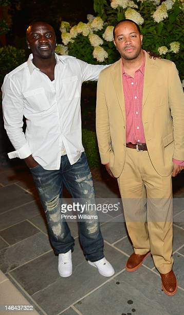 Akon and Jason Geter attend Jason Geter And Bu Thiam Present Dinner A Toast on June 16 2012 in Atlanta Georgia