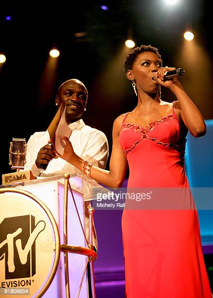 Akon and Lira on stage at the MTV Africa Music Awards with Zain at the Moi International Sports Centre on October 10 2009 in Nairobi Kenya