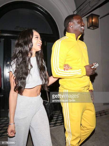 Akon and Tomeka Thiam are seen on February 12 2018 in Los Angeles California