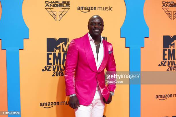 Akon attends the MTV EMAs 2019 at FIBES Conference and Exhibition Centre on November 03 2019 in Seville Spain