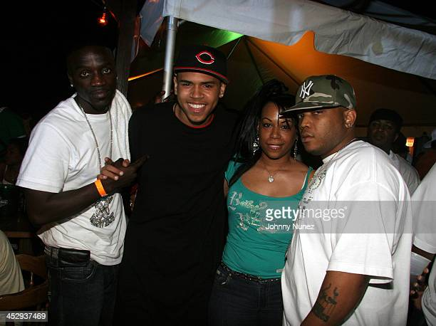Akon Chris Brown Coco Chanel and Styles P during Power Summit Present Interscope Party at Tranquility in Freeport Bahamas