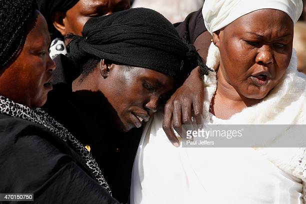 Akon Guode at the funeral of her 3 children Bol Anger and Madit who were tragically killed when she veered off the road at Wyndham Lakes on April 8...