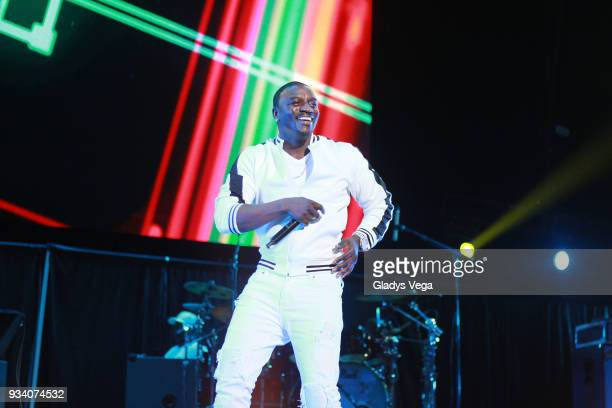 Akon performs as part of the benefit concert 'Power To The People' at Coliseo Jose M Agrelot on March 18 2018 in San Juan Puerto Rico