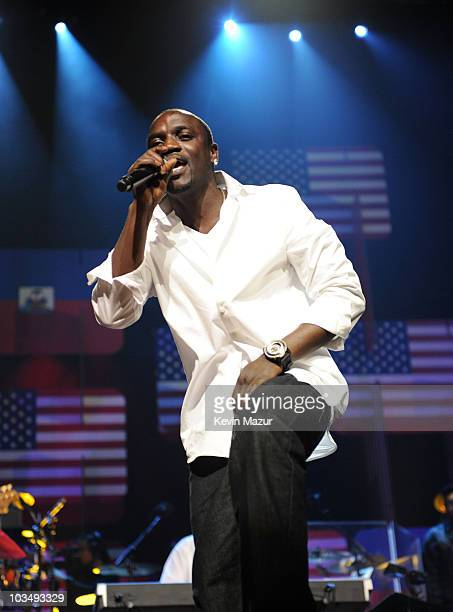 Akon performs at the BETSOS Saving Ourselves � Help for Haiti Benefit Concert at AmericanAirlines Arena on February 5 2010 in Miami Florida