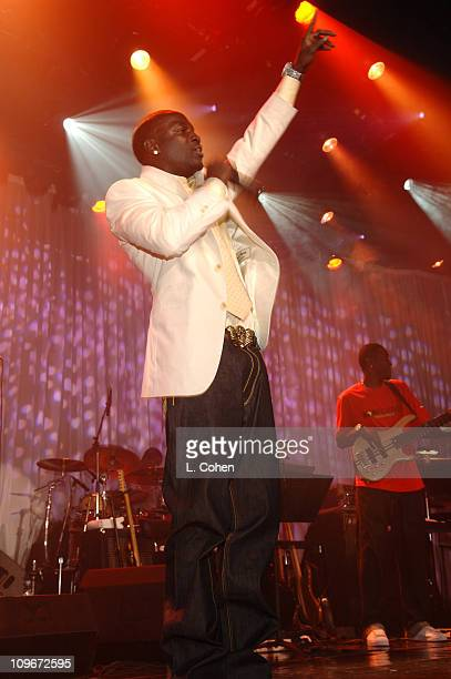 Akon performs during 2007 Clive Davis PreGRAMMY Awards Party Show at Beverly Hills Hilton in Beverly Hills California United States