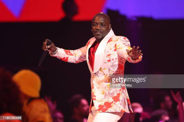 Akon performs on stage during the MTV EMAs 2019 at FIBES Conference and Exhibition Centre on November 03 2019 in Seville Spain