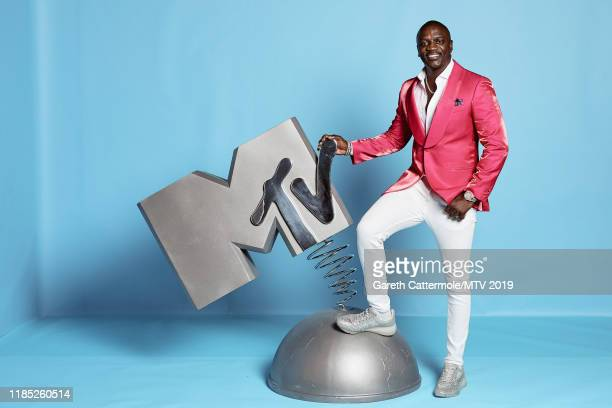 Akon poses at the MTV EMAs 2019 studio at FIBES Conference and Exhibition Centre on November 03 2019 in Seville Spain