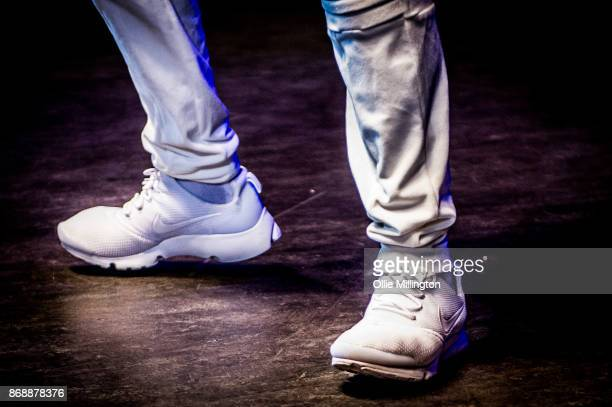 Akon shoe detail performs live on stage Konvict Kartel at the O2 Shepherd's Bush Empire on October 31 2017 in London England
