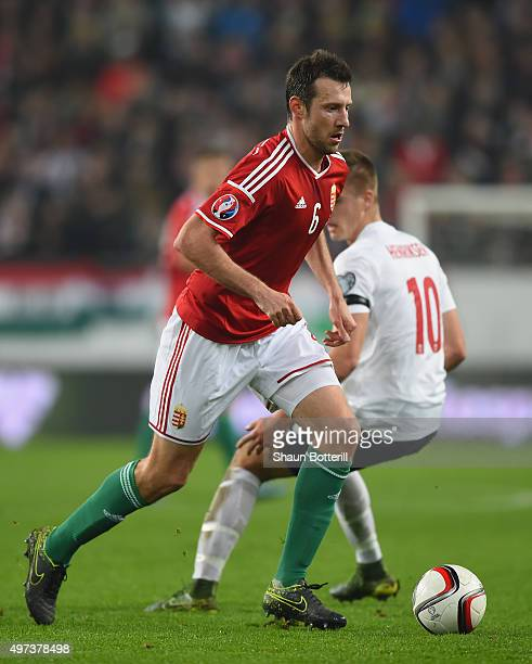 Akos Elek of Hungary during the UEFA EURO 2016 qualifier playoff second leg match between Hungary and Norway at Groupama Arena on November 15 2015 in...