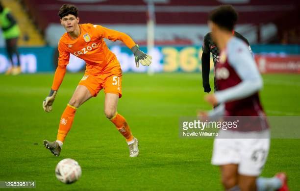 Akos Onodi of Aston Villa in action during the FA Cup Third Round between Aston Villa and Liverpool at Villa Park on January 08, 2021 in Birmingham,...