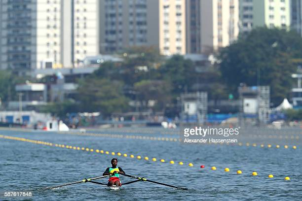 Akossiwa Claire Ayivon of Togo competes during the Women's Single Sculls Semifinal on Day 4 of the Rio 2016 Olympic Games at the Lagoa Stadium on...