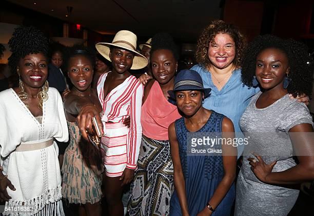 Akosua Busia, Zainab Jah, Lupita Nyong'o, Playwright Danai Gurira, Director Liesl Tommy, Pascale Armand and Saycon Sengbloh pose at the closing night...