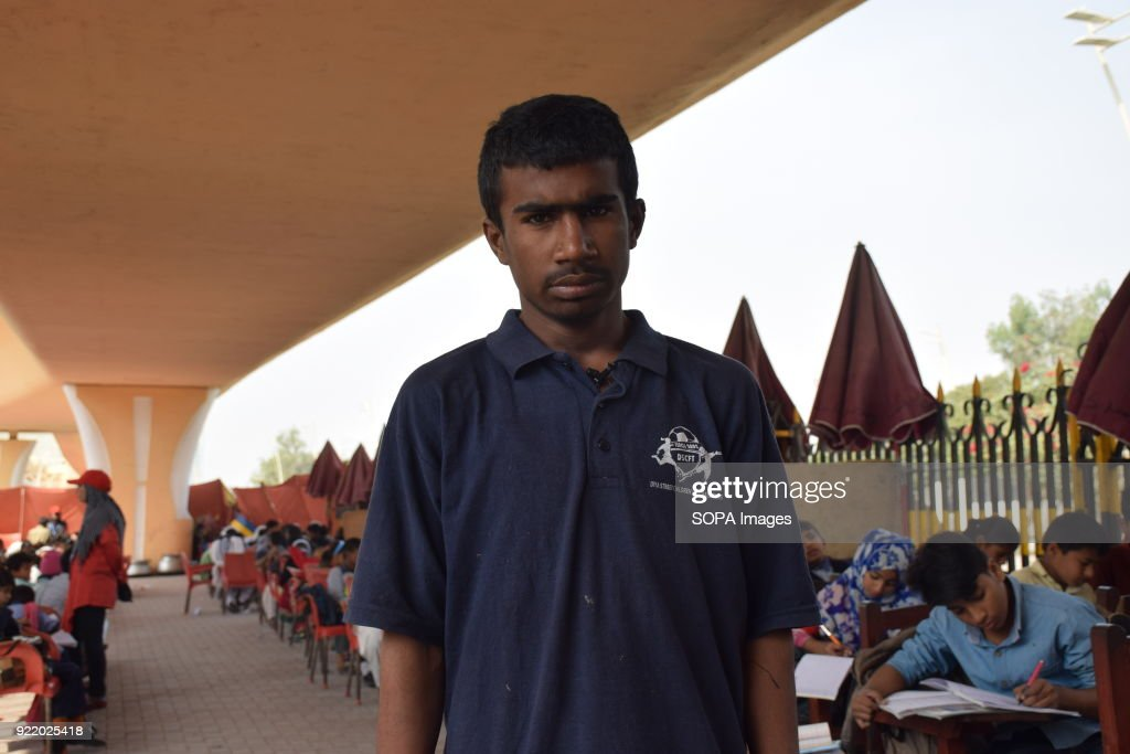 Akram 15, student of 5th grade in Karachi FootPath school,... : News Photo