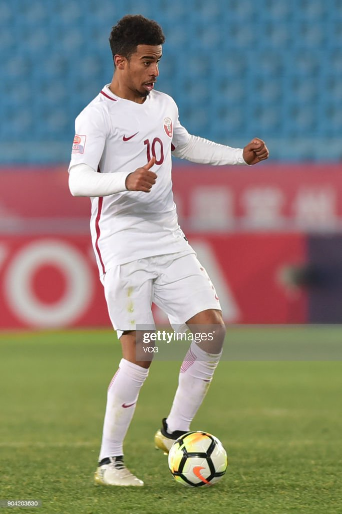 Akram Afif #10 of Qatar during the AFC U-23 Championship Group A match between Oman and Qatar at Changzhou Olympic Sports Center on January 12, 2018 in Changzhou, Jiangsu Province of China.